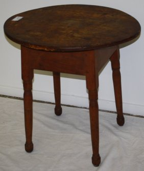 Tavern Table Maple And Pine, Oval Top, Turned Legs. Top