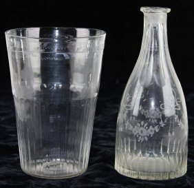 Blown Clear Glass Ribbed And Etched Stiegel Type Flip