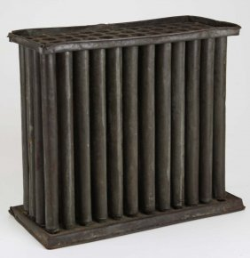 """Early 19th C 24 Hole Tin Candle Mold, Ht 10.5"""""""