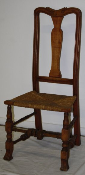 Queen Anne Maple Spanish Foot Chairs With Carved Crest,