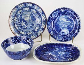 Group Of Four Pcs Of Deep Blue Staffordshire And Blue