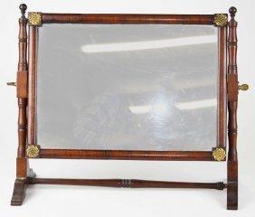 "19th C Delicately Framed Shaving Mirror Stand, Ht 14.5"""