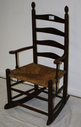Early Ladder-back Armed Finial Top Rocking Chair In