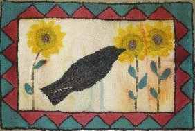 "20th C Hooked Rug With Crow & Sunflowers, 19"" X 27"""