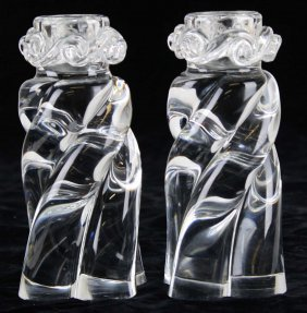 """Pair Of Signed Baccarat Crystal """"alladin Swirl"""""""