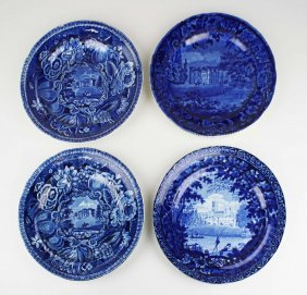 Four Deep Blue Staffordshire Porcelain Plates With