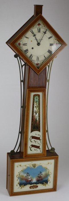 Daniel Monroe- Boston Replica Diamond Box Banjo Clock,