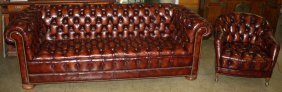 Matching Hickory Chair Co. Mahogany Tufted Leather