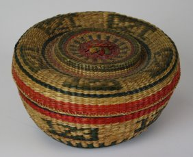 "Early 20th C Tlingit Spruce Root Covered Basket, Ht 3"","
