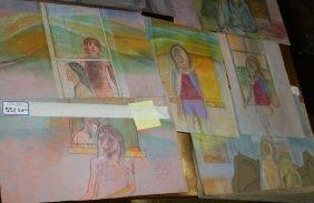 5 Bessie Boris ( Am 1917-1993) Pastel Portrait Studies,