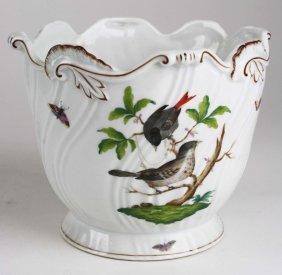 """Herend Rothschild Bird Porcelain Cache Pot 6"""" X 7.5"""""""