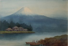 20th C Japanese School Wc Of Mt Fuji With Lake Signed