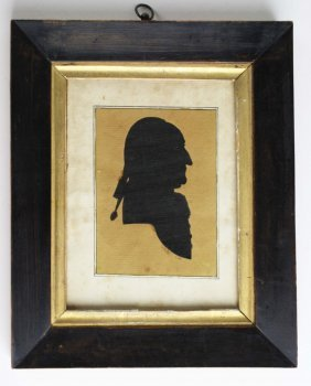 Late 18th C Silhouette Of A Gentleman On Lined Paper, 3