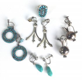4 Pairs Of Sw Navajo Silver Earrings & Ring W/