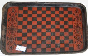 Tin Litho Tray With Game Board Front & Parcheesi