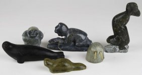 6 Inuit Soapstone Carvings Of Seals, Hunters, Walrus,