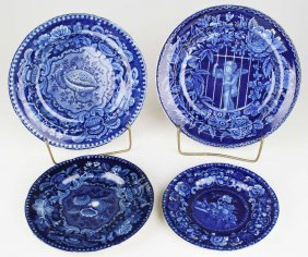 Four Deep Blue Staffordshire Porcelain Plates Plates