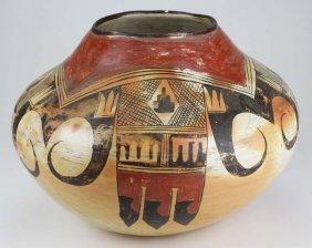 early 20th c Zuni Pueblo three color olla, dia 13�, ht