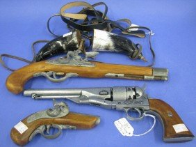 Pistols, Non-Firing Replicas (3) And Accoutrements
