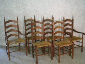 Six Ladderback Chairs, Walnut, Steeple Finials