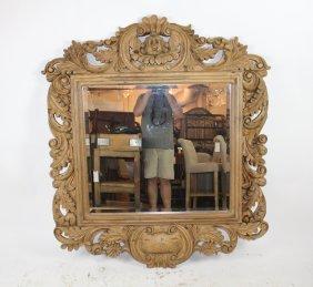 Rococo Style Mirror In Natural Finish With Cherub