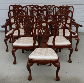 Set Of 13 Mahogany Chippendale Diniing Chairs