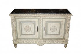 Painted 2 Door Sideboard With Marble Top
