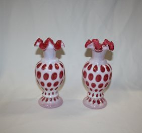 Lot Of 2 Fenton Cranberry Coin Dot Vases