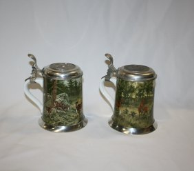 Lot Of 2 German Kaiser Porcelain & Pewter Beer Ste