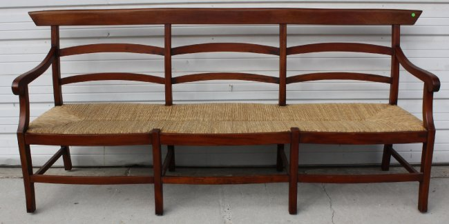 rush seat bench with back 2