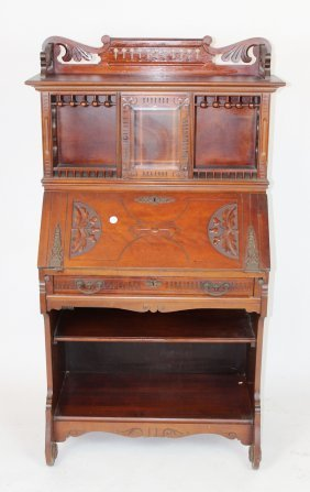 American Victorian Drop Front Secretary In Walnut