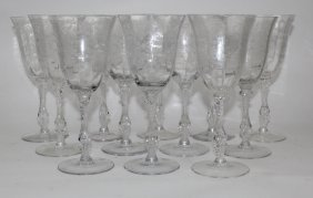 Set Of 12 Cambridge Etched Crystal Wine Glasses