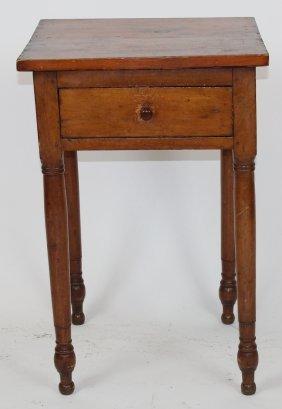 American Primitive Single Drawer Side Table On Turned
