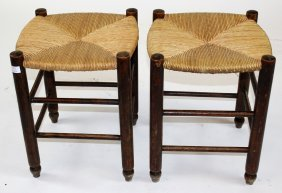 Pair Of Provincial Rush Seat Stools