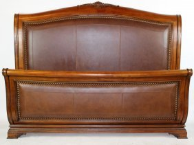 King Size Mahogany & Leather Bed