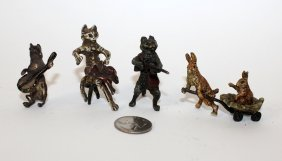 Lot Of 4 Cold Painted Bronze Miniatures