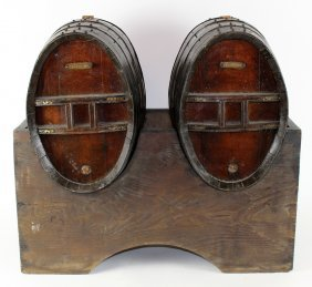 Pair Of French Wine Kegs On Stand