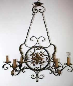 French Wrought Iron Chandelier With Gilt Accents