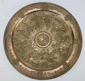 French Bronze Relief Classical Plateau
