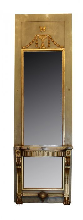 French Empire Pier Mirror With Console