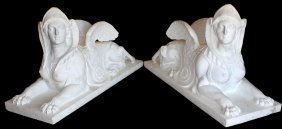 Pair Of Carved Carrara Marble Sphinxes