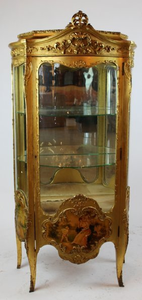 Gilt Louis Xv Style Curved Curio With Vernis Martin