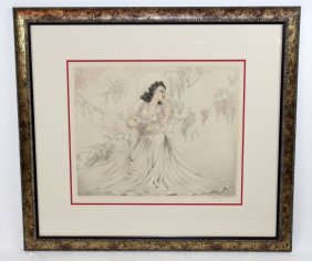 Louis Icart Drypoint Etching Wisteria
