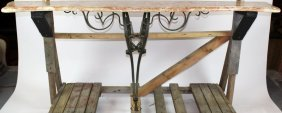 French Rococo Stye Wrought Iron Marble Top Console