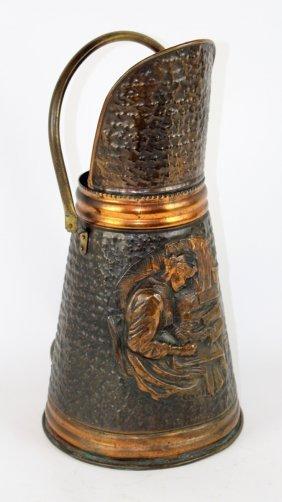 Embossed Copper & Brass Coal Scuttle
