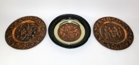 Grouping Of 3 Embossed Copper Tavern Trays