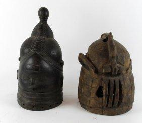 Lot Of 2 African Carved Wooden Helmet Masks