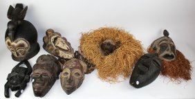 Lot Of 8 African Tribal Wooden Masks
