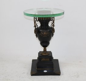 French Urn Form Base Side Table With Etched Glass