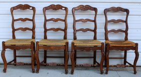 Set Of 4 French Ladder Back Side Chairs